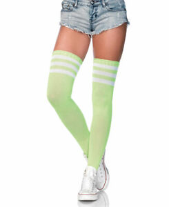 Neon Green Athletic Ribbed Thigh High Stockings - Leg Avenue 6605