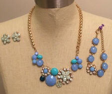 Rhinestone Flower Necklace Earring Bracelet Set Blue Aqua Gold Tone Faux Crystal