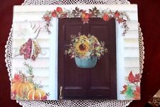 Nantucket Basket Glass Cutting Board Serving Tray Country Door Fall 11 x 15