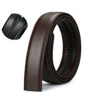 Automatic Leather Jeans Luxury Buckle Men's Belt Brown Black Ratchet Strap