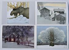 4 pcs LENNART HELJE Art Gnome Postcards  Signed new unposted from Sweden