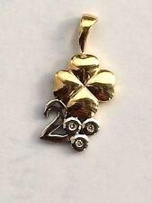 Anhänger Kleeblatt mit Diamanten Brillant Gold bicolor 585 Gelbgold Weißgold 14K