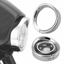 7'' LED Headlight Chrome Bezel Cap Trim Protect Guard Cover for Harley Davidson