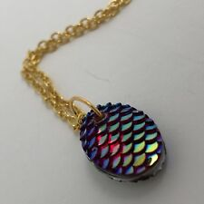 Mermaid Egg / Dragon Egg Scales Gold Plt  Necklace Pendant Red AB I030 Green