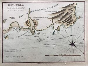 1748 Antique Map; Holyhead Bay, Road and Harbour, Anglesey after Lewis Morris