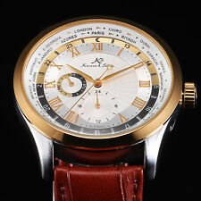 KS Brown Leather Automatic Mechanical Date Day Sport Mens Wrist Watch+Gift Box