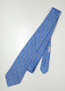 Hermes Blue Tiny Hippo Print Silk Necktie,Tie