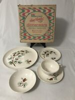 Vintage 5 Pc Place Setting Mid Century Stetson Marcrest Pine Cone With Box