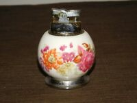 "VINTAGE 3 1/2"" HIGH TABLE TOP BONE CHINA FLOWERS CIGARETTE LIGHTER"