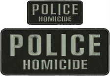 HOMICIDE EMBROIDERY PATCHE 1X5  hook on back GRAY LETTERS