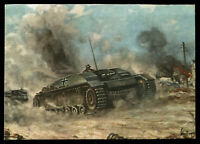 WW2 WWII Germany 3rd Reich Color Postcard Cover Hitler Army Panzer Tank attacks