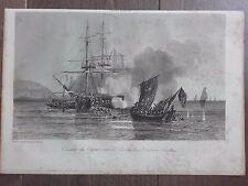 GRAVURE MARINE NAVIRES 1840 COMBAT DU CYGNE CONTRE PÉNICHES DIVISION ANGLAISE