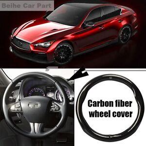 For Infiniti Q50 Black Carbon Fiber Leather Steering Wheel Cover Sport Racing