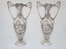 Art Nouveau Jugendstil WMF Silverplate Pewter Pair of Vases