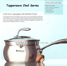 Tupperware Chef Series Nonstick Coated 3 Qt. Saucepan & Tempered Glass Lid New
