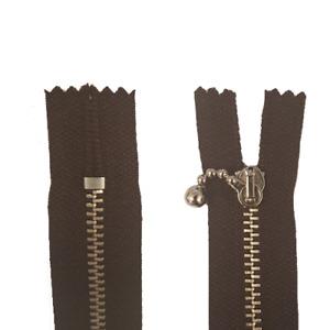 RV Reißverschluss 17cm unteilbar Metallzähne dunkelbraun 2 Stück