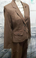 NWT Merona Women's 100% Linen Brown 2 Piece Blazer / Pants Suit | Size S & 8