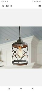 New!1-Light Industrial Mini Wire Pendant Light, Metal Cage Shade, Silver Brushed