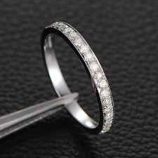 Moissanite Wedding Band Anniversary Ring,Milgrain Half Eternity,14K White Gold
