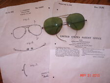 ESTATE WWII AVIATOR PILOT SUNGLASSES GREEN LENS PAT INFO POMERANZ SPECTACLE