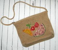 Vintage Purse The Sak Crochet Handbag Beaded Fruit Cherries Watermelon Orange