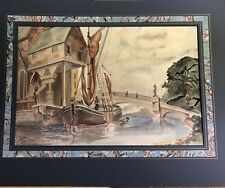 Great 1948 Boat Dock Regionalist Watercolor Painting - Signed Frank S. Hall