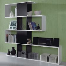 White and Black Open Zarah Bookcase Zig Zag 4 Tier Abstract Melamine Living Room