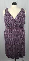Lane Bryant Women's V Neck Sleeveless Dress Multicolor Geometric Size 14/16