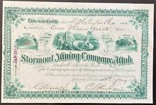 STORMONT MINING CO. of UTAH Stock 1887. St. George Silver Reef. BEAUTY ABNC VF++