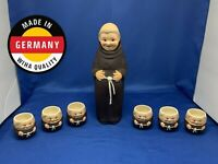 "Vintage 10.5"" Goebel Friar Tuck Monk Decanter w/ Stopper & 6 Shot Glasses GERMAN"