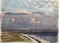 Watercolour Impressionist Karl Adser Aufziehende Clouds At Horizon 37,5 x 27,5