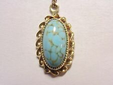 Vintage 1/20 12k Yellow Gold Filled Turquoise Glass Slide Pendant Necklace