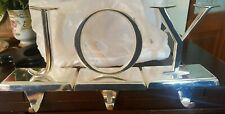 Pottery Barn Letters J-O-Y / JOY Silverplate Christmas Stocking Holder Hangers