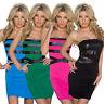 Sexy Damen Minikleid Bandeau Etui Kleid top Lederoptik Mode Party Club S M 34 36