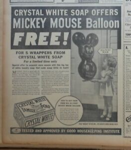 Large 1936 newspaper ad for Crystal White Soap - Mickey Mouse balloon offer