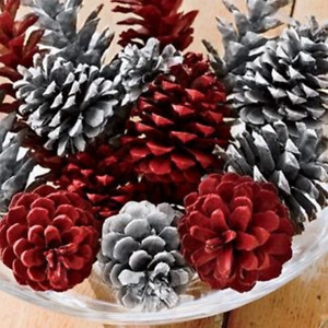 🎅15 RED&WHITE PAINTED PREMIUM PONDEROSA PINECONES- Great Wreaths&Holiday Decor
