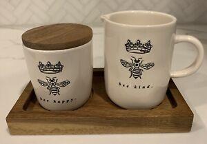 "Rae Dunn ""Bee Kind"" and ""Bee Happy"" Sugar & Creamer Set with Wood Tray"