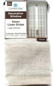 "Comfort Bay Sheer Linen Stripe Light Filtering 2 Rod Pocket Panels 27""x84"" Ivory"