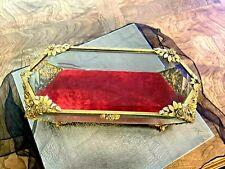 Antique Lrg French Jewelry Casket Box Ormolu Beveled Glass w Victorian Feet