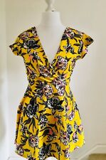 Bright Canary Yellow Floral Skater Backless Dress UK12 Stretchy Tropical Summer