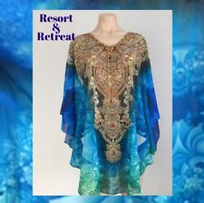Crystal Embellished Kaftan Size 12-20, Resort Wear, Tropical Print, Blue