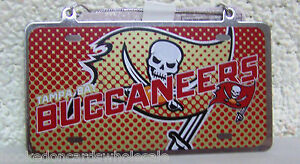"""Tampa Bay Buccaneers NFL Metal License Plate Sign Christmas Tree Ornament 2x4"""""""