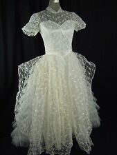 Vtg 50s Ivory Illusion Lace Ruffle Wedding Prom Dress w/ Arm Sleeves-Bust 33/2Xs