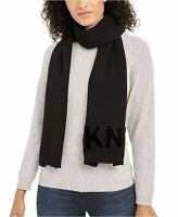 DKNY Womens Logo Velvet Flocked Flat Knit Scarf Black DY01004