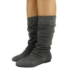 Womens Pixie Mid Calf Rouched Flat Pull on Knee Long Ladies Slouch BOOTS Size UK 8 / EU 41 / US 10 Grey