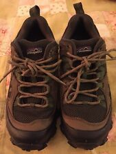 PATAGONIA Canteen Women Olive Green Leather Low Cut Hiking Shoes Vibram Size 6.5