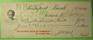 bank draft on Nat. Bk. of Commerce, St. Louis by Rockeport, Mo. Child's Head Vig