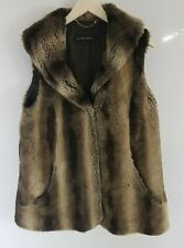 Ellen Tracy Brown Faux Fur Gilet Waistcoat Sleeveless Jacket Size L Large 16 -18
