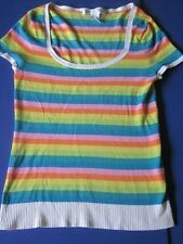 Trina Turk Tee Shirt Med Rainbow Stripe Rayon Blend Top Low Scoop Neck 70s Style
