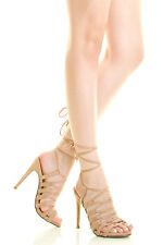 New Womens Strappy Tie Wrap Lace Up Gladiator Sandal Pump Stiletto Heel Open Toe